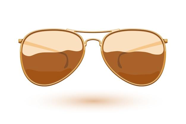 Красочная иллюстрация моды значка солнцезащитных очков авиатора. символ ухода за глазами.