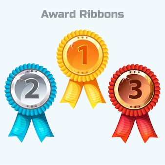 Colorful award ribbons, gold, silver and bronze