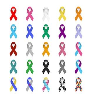 カラフルなアウェアネスリボンがんのエンブレムエイズ肝炎ループス糖尿病てんかん自閉症