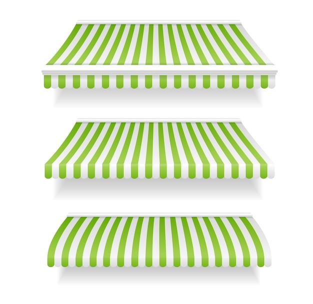 緑に設定されたカラフルな日除けショップ。