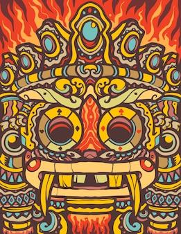 Colorful aztec totem cartoon illustration