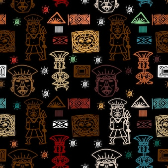 Colorful aztec tribal ethnic pattern vector background