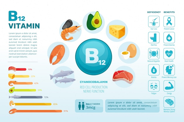 Colorful b12 vitamin food infographic