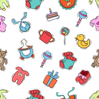 Colorful of baby newborn seamless pattern