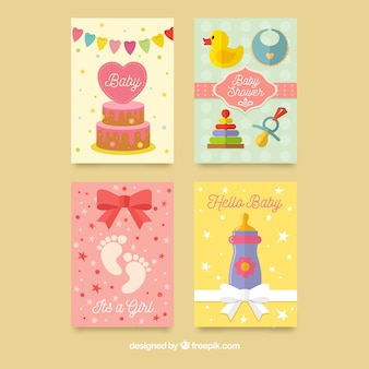 Colorful baby shower cards pack