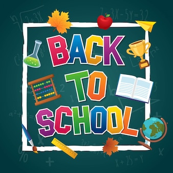 Colorful back to school poster poster design template