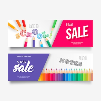 Colorful back to school sale banner collection