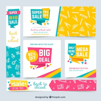 Colorful back to school web banners