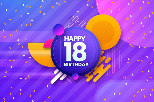 Colorful background for 18th birthday