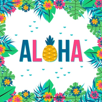 Sfondo colorato di aloha con fiori
