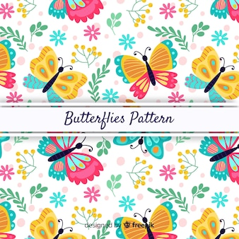 Colorful background butterflies and leaves