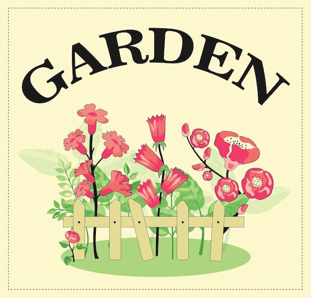 울타리 뒤에 개화 꽃과 화려한 배경 디자인입니다. 아름다운 정원 식물이 자랍니다.