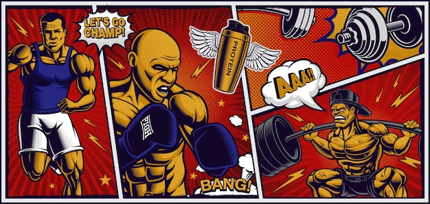 Colorful background for fitness center in pop art style, with cartoony illustrations of runner, fighter and bodybuilder.