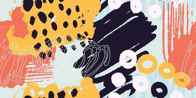 さまざまな形やテクスチャのカラフルな背景ヘッダーコラージュ
