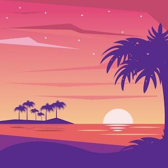야간 해변의 화려한 배경 풍경