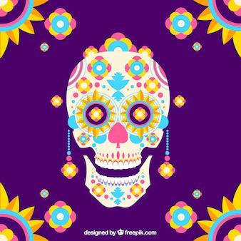 Sfondo colorato di cranio messicano in design piatto