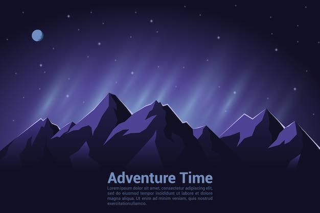 등산, 트레킹, 하이킹, 등산 개념의 화려한 배경. 익스트림 스포츠, 야외 레크리에이션, 산에서의 모험, 휴가.