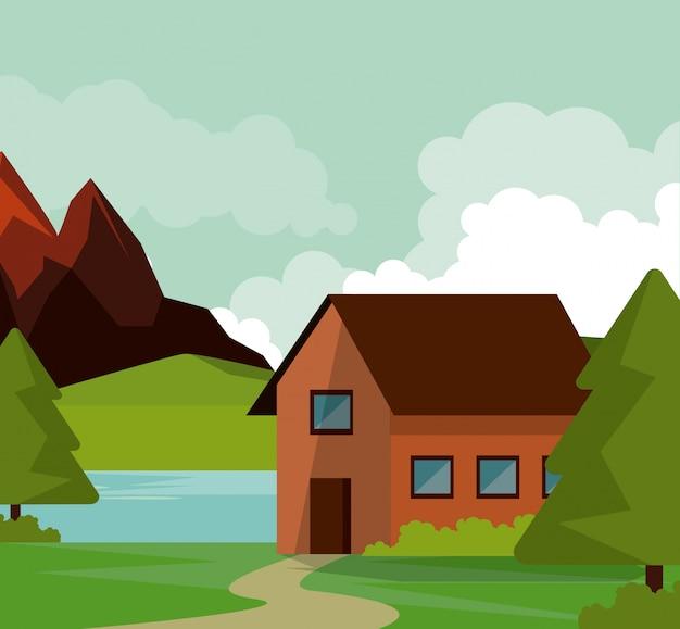 カントリーハウスと山々と川の自然の風景のカラフルな背景