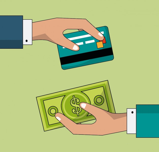 Colorful background of transaction in cash and credit card