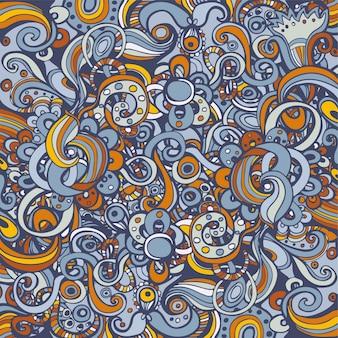 絡み合うパターンとカラフルな背景。花とスパイラルの要素。