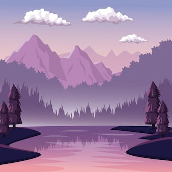 Colorful background with dawn landscape of mountain and river