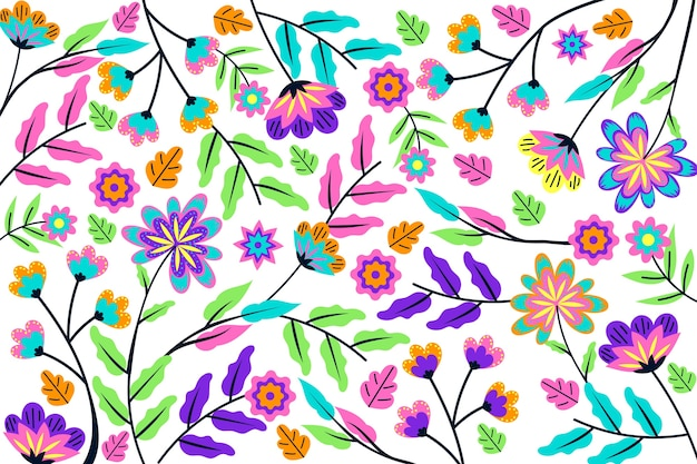Colorful background with exotic flowers