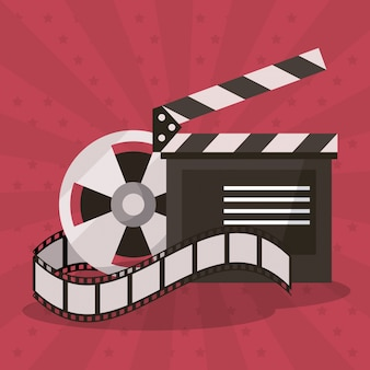 Colorful background with film reel and clapperboard