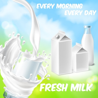 Colorful background with fresh milk, pouring in drinking glass and splashing