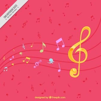 Красочный фон с золотой скрипичный ключ