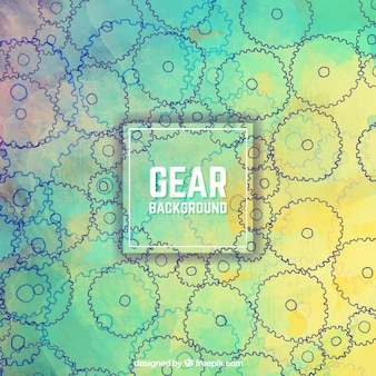 Colorful background with hand-drawn gears