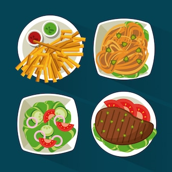 Colorful background with meat and pasta and salad and fries
