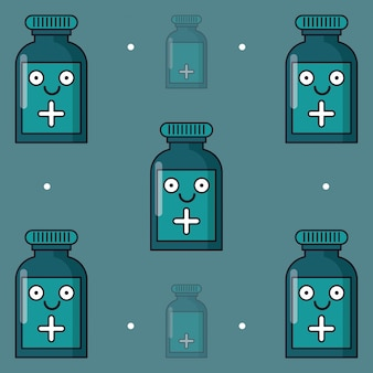Colorful background with pattern of medicine bottle animated