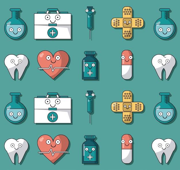 Красочный фон с рисунком анимированных медицинских элементов