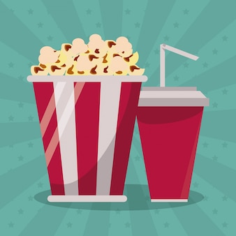 Colorful background with popcorn pack and soda