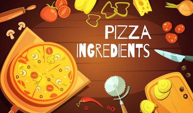 Colorful background with prepared pizza