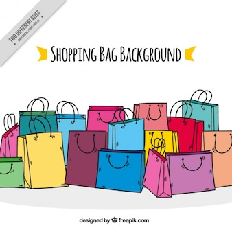Colorful background with shopping bags