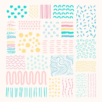 Colorful background with small geometric shapes hand-drawn