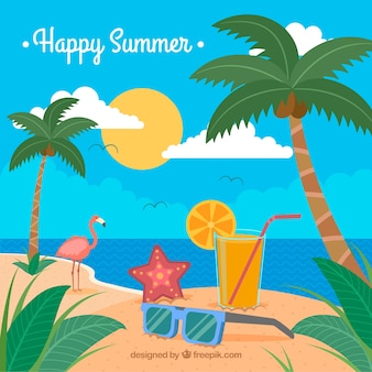 Colorful background with summer scene