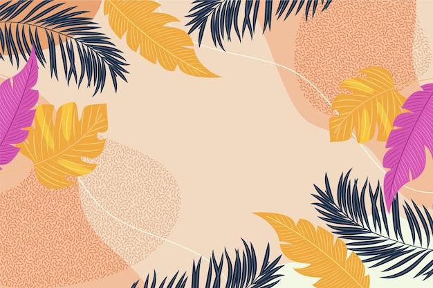 Sfondo colorato con foglie tropicali