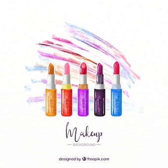 Colorful background with watercolor lipsticks