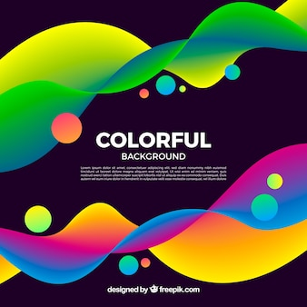 Colorful background with waves and circles