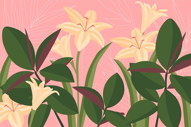 Colorful background with white lilies and leaves