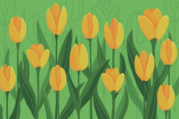 Colorful background with yellow tulips and leaves