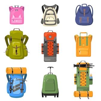다채로운 배낭 세트. 학교, 캠핑, 트레킹, 등산, 하이킹 용 가방. 관광 장비, 배낭, 수하물 개념에 대한 평면 벡터 일러스트