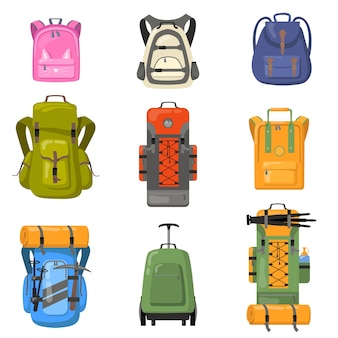 Colorful backpacks set. bags for school, camping, trekking, mountain climbing, hiking. flat vector illustrations for tourist equipment, rucksack, luggage concept