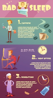 Colorful bad sleep infographics