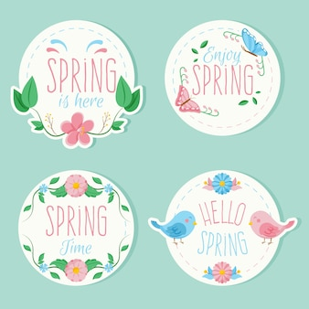 Colorful badges with spring thematic pack