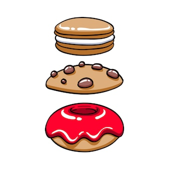 Colorful baked sweets icons set