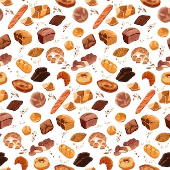 Colorful bakery products seamless pattern