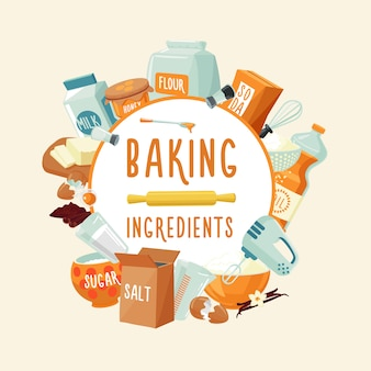 Colorful baking ingredients round concept